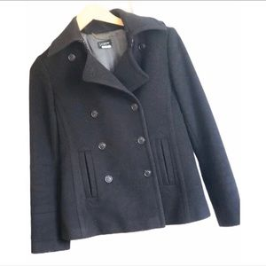 J Crew Black Wool Peacoat Double Breasted S 4 6